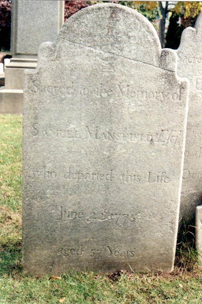 Closeup of Samuel Mansfield's gravestone. The inscription reads:<br /> Sacred to the Memory of<br /> SAMUEL MANSFIELD Esqr<br /> who departed this Life<br /> June 22d 1775<br /> aged 57 Years