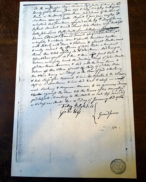 Arrest warrant for Benedict Arnold as a merchant in New Haven in 1766. In the collections of the New Haven Museum (photo found on the web)