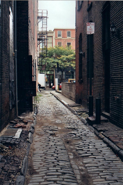View from the alley looking toward Second Street