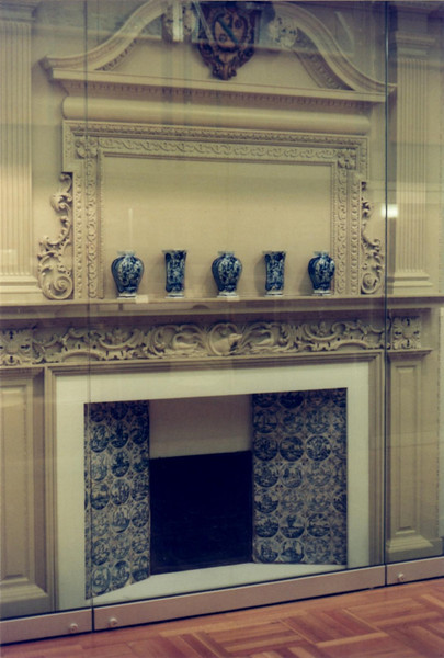 The fireplace is on permanent display at the museum.