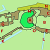 """Map from Wikipedia: St. George's Chapel is labeled """"G"""""""