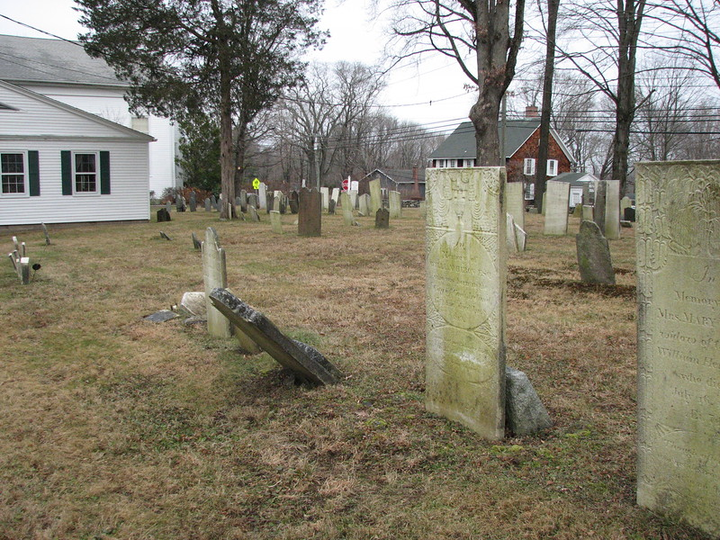 Heron's gravestone is just to the right of center, Note its location two rows from the back of the cemetery and about 6 stones from the far edge.