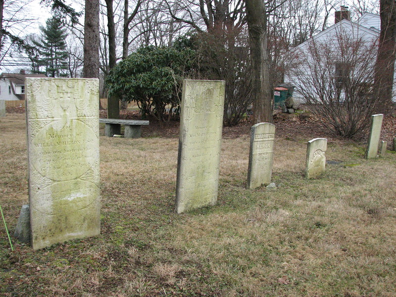 Reverse angle showing Heron's gravestone (on the left) relative to the far edge of the cemetery