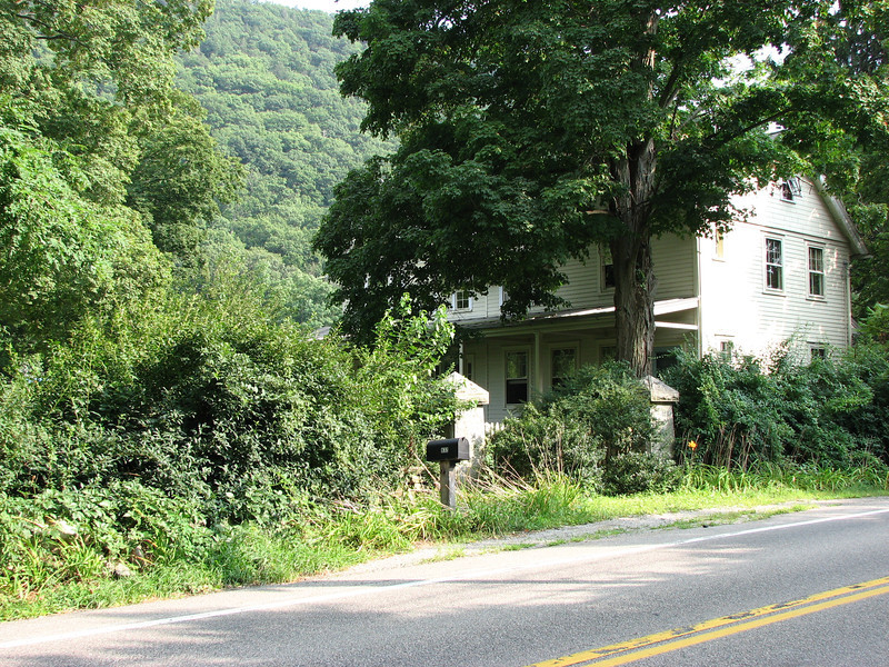 View of the current house on the site, situated just south (to the right) of the markers.