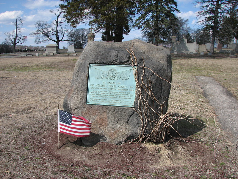 The monument to Col. Angell, erected in 1918 when the his and his wife's remains were moved to this spot from their original interments in a family cemetery in Johnston, RI