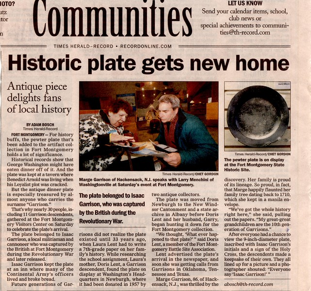 News article from the Times Herald-Record (Middletown, NY) Sunday, April 12, 2009 edition, page 35.