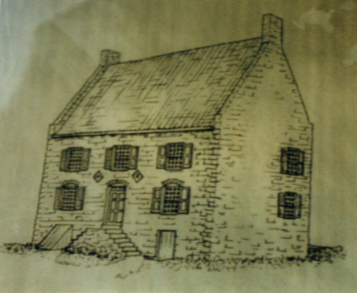 Drawing that shows how the building looked at the time of Peggy Shippen's visit.
