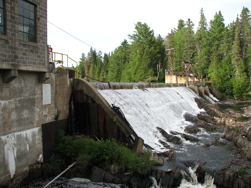 The dam built over Black Cat Rapids. The rocky aspect of the river is still evident.