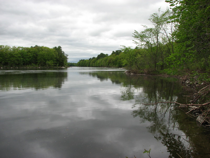 View from downstream. Now flooded by the impoundment of the Skowhegan Dam, Bomazeen Rips is the narrow place in the river seen here.
