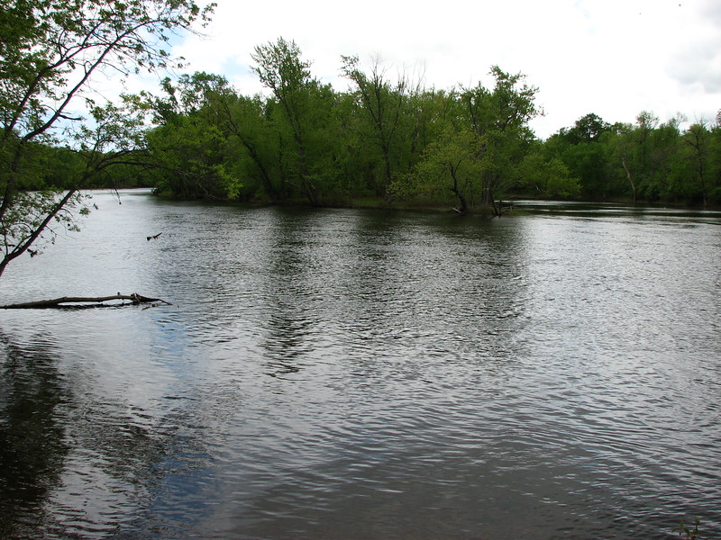 A view of a branch of the Kennebec as seen from the public boat launch at the end of Madison St in North Anson. This is near where the Carrabassett enters the Kennebec (check maps for details.) The water level is raised by the Madison dam, so the river appears different from when the expedition passed through.