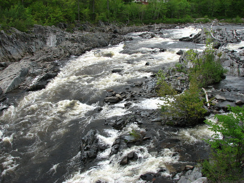 View of the falls in the Carrabassett River in North Anson, as seen from the Rt 201A bridge, located just south of the junction with Rt 16.