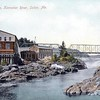 Old postcard view of the falls. Arnold would have taken out in the foreground to portage around the right side of the cataract. There is a canoe portage trail in the same place today at the end of Falls Rd in Solon.