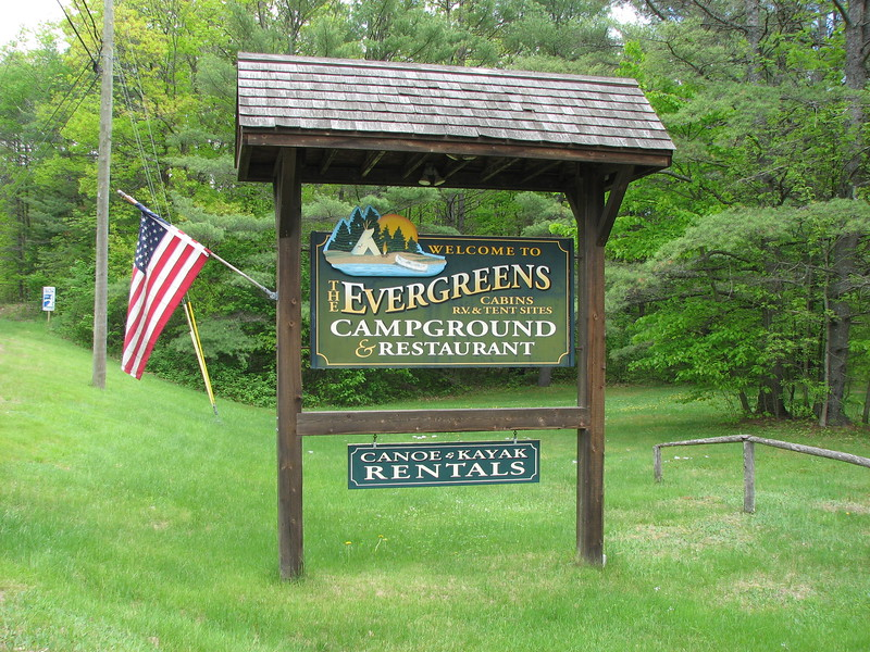 Roadside sign for the campground