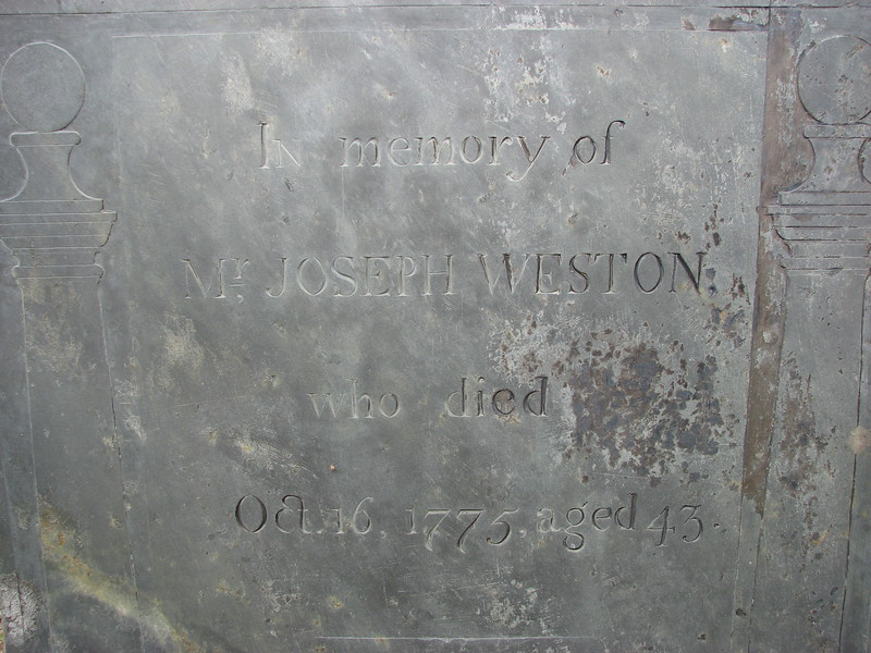 Inscription for Joseph Senior. Note his date of death, not long after the expedition passed through.