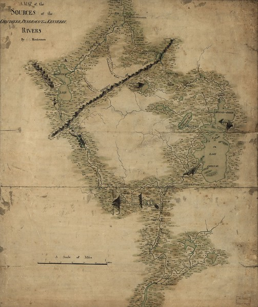 "The map drawn by John Montresor, used by Benedict Arnold to guide his expedition.<br /> <br /> Montrésor, John. A map of the sources of the Chaudière, Penobscot, and Kennebec rivers. [?, 1761] Map. Retrieved from the Library of Congress, <a href=""https://www.loc.gov/item/74692578"">https://www.loc.gov/item/74692578</a>. (Accessed April 02, 2016.)"