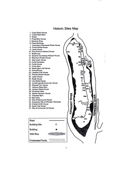 Map of the island as seen on the state self-guided walking tour handout. The house that Arnold stayed in is marked as #12 on this map. Click on the image to enlarge it for easier reading.
