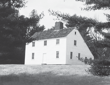 """The Dumaresq or """"salt box"""" house, where Arnold, Burr and Dearborn are reported to have stayed. Photo as seen in the walking trail guide to the island."""