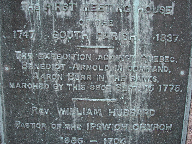 Close up of the part of the inscription referring to Benedict Arnold (and Aaron Burr)