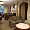 Views in the first-floor rooms of the mansion, now reading areas within the library