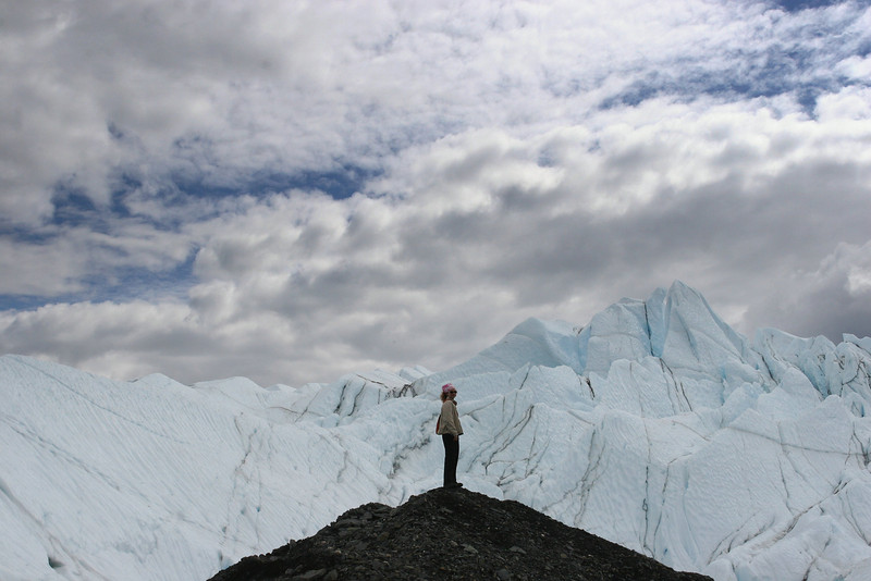 Jonelle stands atop a moraine at Matanuska Glacier.