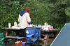 Even in summer, cold mornings are the norm. Jonelle prepares breakfast in our campsite at Chena Hot Springs.
