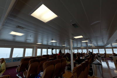 Roomy and comfortable, with a snack bar in the back -- riding the Ferry was really nice.