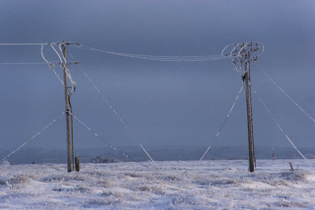 Ice frost insulates the power lines in Dillingham AK