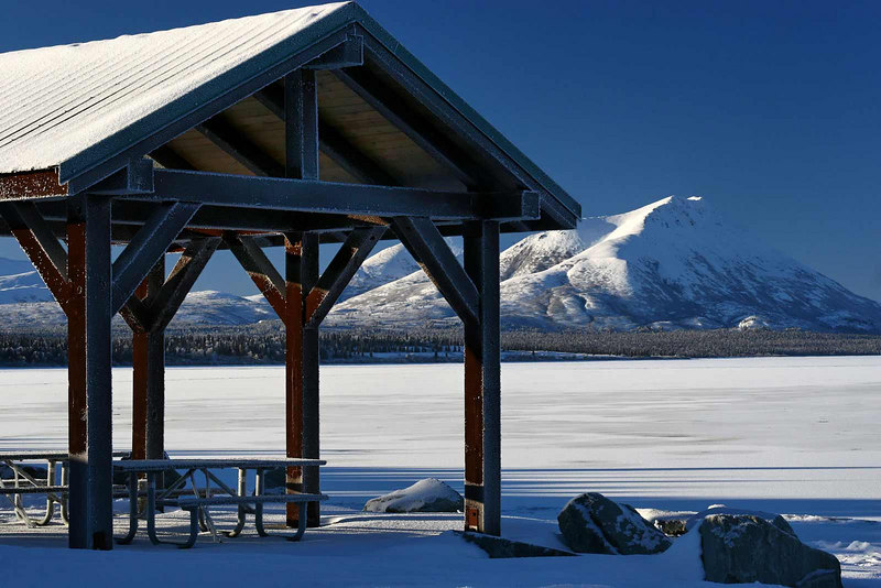 Not a good day to have a picnic overlooking the frozen Aleknagik Lake. Dillingham, Alaska.