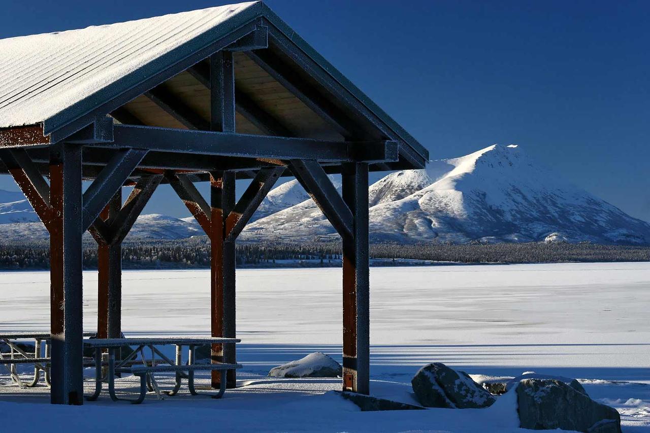 Not a good day to have a picnic overlooking the frozen Aleknagik Lake. Dillingham, Alaska.