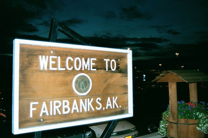 1AM arrival into Fairbanks and there is still visible light from the setting sun ..or is it rising again?