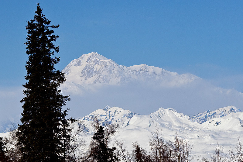 Along Parks Highway between Anchorage and Fairbanks are many stops to see the mighty peak of Denali.