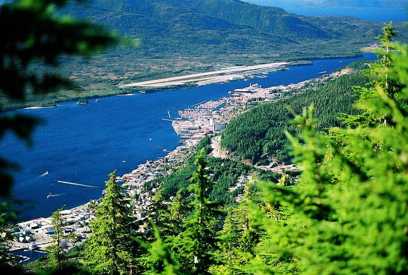 Looking down on Ketchikan from the top of Deer Mtn trail. 2003