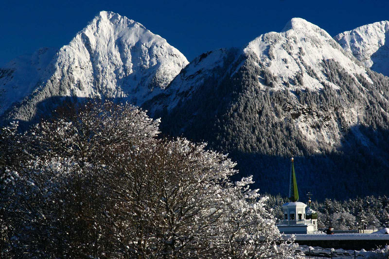 Beautiful Sitka Alaska. Visible among the trees and mountains is the Russian Orthodox Church.