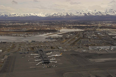 Anchorage Airport with Lake Hood floatplane base next door.