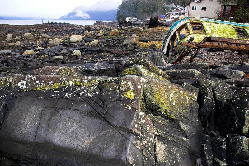 Petroglyphs on the beach at Petroglyph Beach. Wrangell Alaska.