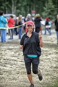 Michelle Roberts still smiling at the halfway point ..