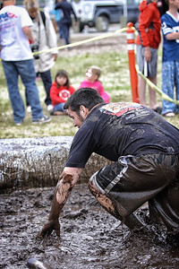 Jesse Keaveny in the mud pit..