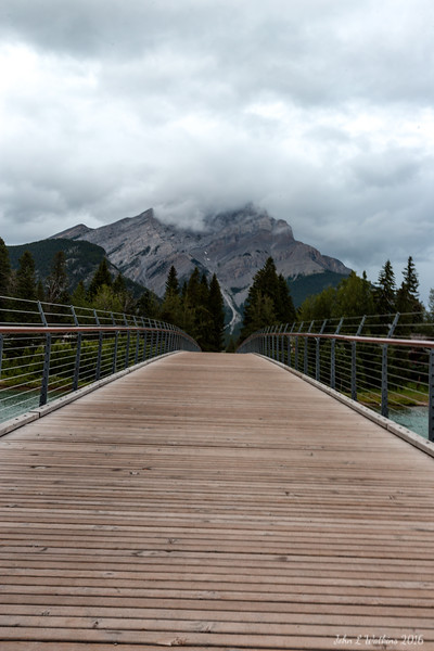 Walking Bridge Across Bow River in Banff