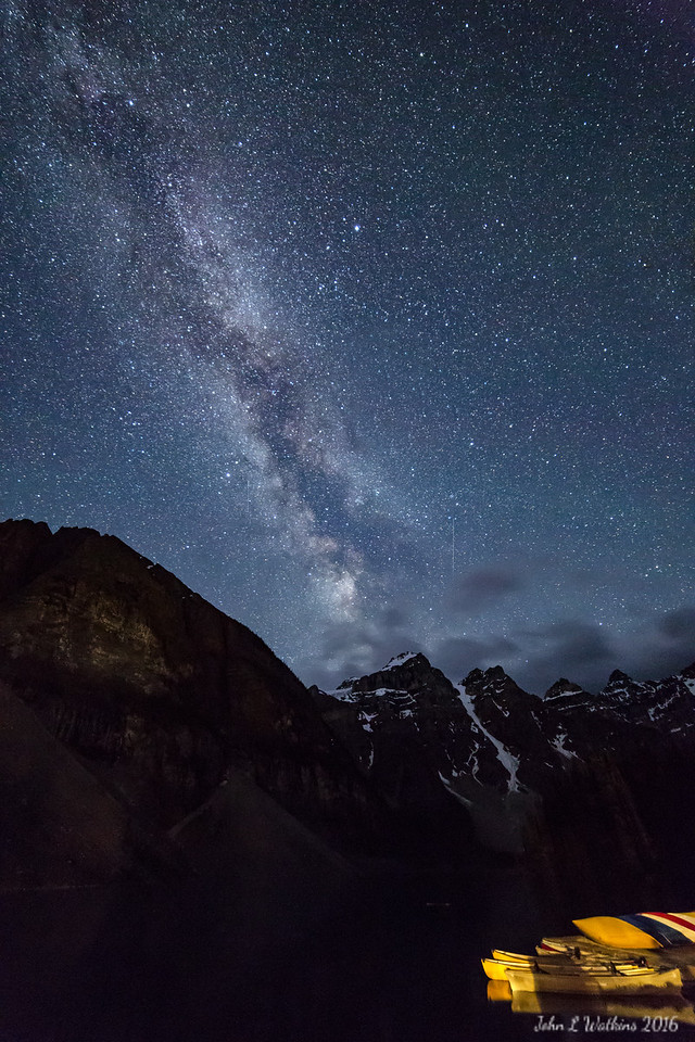 Milky Way Under Darker Sky at Lake Morraine