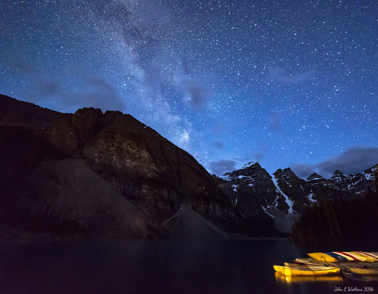 Milky Way Over Canoes at Lake Morraine