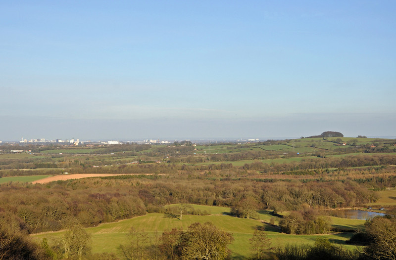 The view from Romsley, on the left Birmingham City Centre and then the new University Hospital at Selly Oak. On the right on the hill Frankley Beeches.