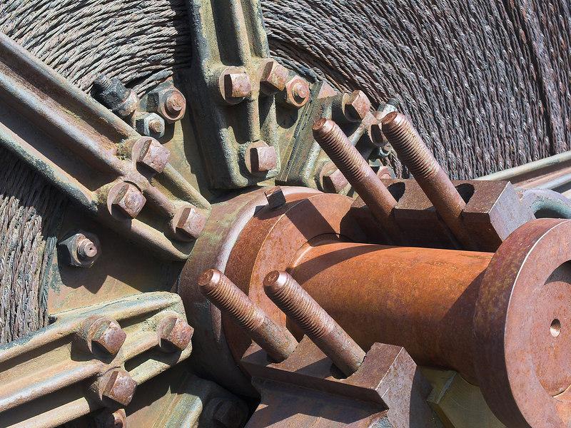 Belt spool on the steam hoist