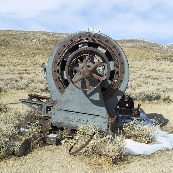 Electrical Generator brought in from an eastern Sierra creek that provided power.<br /> <br /> S. K. C. SYSTEMS<br /> STANLEY ELECTRIC MFG. CO<br /> PITTSFIELD, MASS.