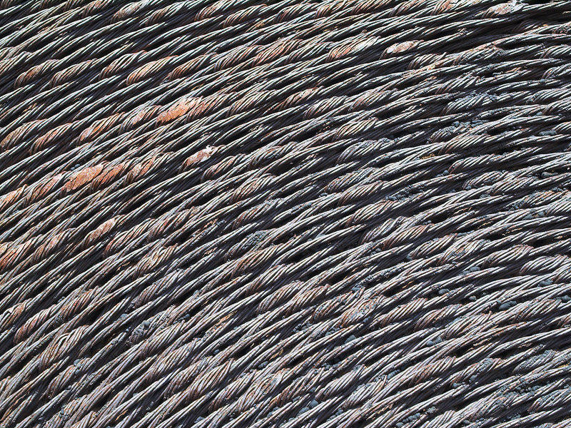Woven wire belting on the steam hoist.