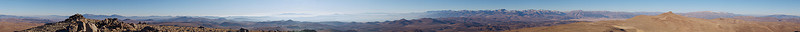 """This panorama spans (over) 360 degrees from the summit of Bodie Mountain just north of the ghost town of Bodie. The view extends over 120 miles across Nevada and 80 miles south to the peaks of the Palisade region of the Sierra Nevada.  The next panorama has compass bearings superimposed.   The panorama after that has over 200 peaks labeled. See how many you know. Find their bearings and see their names with their neighboring peaks. There is also a list of the peaks by bearing with distance and altitude.  Bodie appears from105 to 110 degrees. North is at both ends of the panorama, south is in the middle.  <a href=""""http://www.dbdimages.com/photos/235938250_5jk34-O.jpg""""TARGET=""""blank"""">View large in another window.</a> Use your viewer's zoom function if necessary and be sure to use the sliders.  Bodie Mountain 38°13.6N 119°04.2W 20071123 ©2007 Dale B. Dalrymple"""