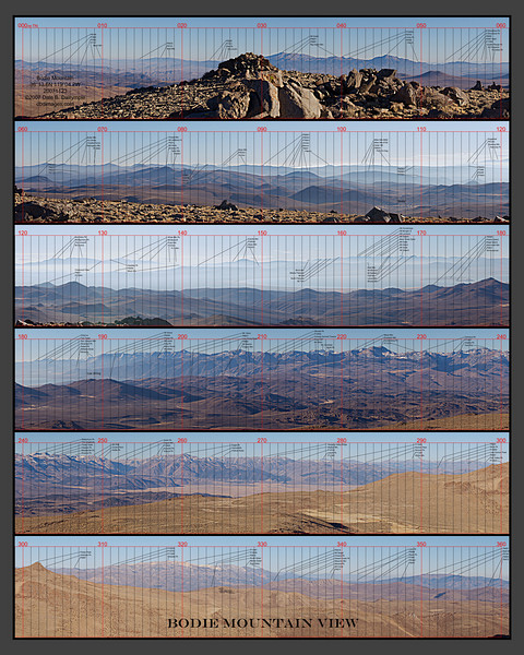 "Bodie Mountain View<br /> November 23, 2007<br /> Annotated with the names of over 200 peaks.<br /> Panorama reshaped to 6189x7735 or 4 to 5.<br /> (Note: When ordering a print, use the ""no-crop"" option for cropping)"