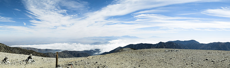"""Dawson Peak, clouds over Cajon Pass, San Gorgonio Mountain, Mount San Jacinto across the skyline from the top of Mount San Antonio (Old Baldy) .October 10, 2006  <a href=""""http://www.dbdimages.com/photos/101926146_xWwkd-O.jpg""""TARGET=""""blank"""">View large in another window.</a> Use your viewer's zoom function if necessary and be sure to use the sliders."""