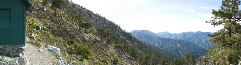 """San Antonio Ski hut and the view down the canyon towards Manker Flat with Ontario Peak, Cucamonga Peak and Bighorn Peak in the distance. October 10, 2006  <a href=""""http://www.dbdimages.com/photos/101926223_mSQeW-O.jpg""""TARGET=""""blank"""">View large in another window.</a> Use your viewer's zoom function if necessary and be sure to use the sliders."""