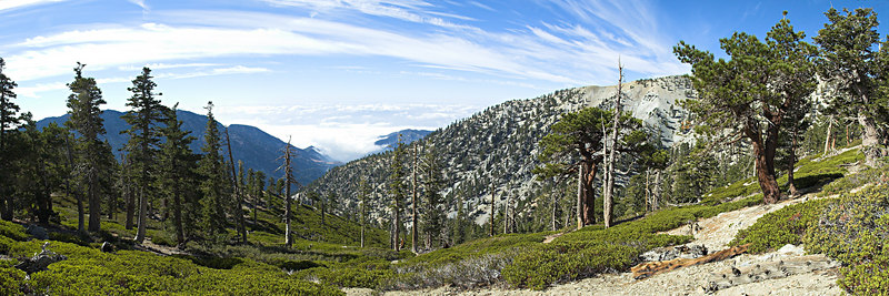 """Baldy Bowl above the Sierra Club San Antonio Ski Hut. The Baldy Bowl Trail ascends just behind the skyline to the summit of San Antonio Peak (Old Baldy) October 10, 2006  <a href=""""http://www.dbdimages.com/photos/101926088_LqFBT-O.jpg""""TARGET=""""blank"""">View large in another window.</a> Use your viewer's zoom function if necessary and be sure to use the sliders."""