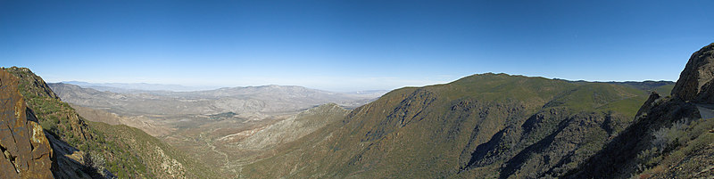 "From Kwaaymii Point: Garnet Mountain is to the left and Garnet Peak is on the right. Cottonwood Canyon is in the foreground. The Santa Rosa Mountains are on the distant horizon on the left. Whale Peak forms the skyline on the right.  <a href=""http://www.dbdimages.com/photos/107117308_CTHiS-O.jpg""TARGET=""blank"">View large in another window.</a> Use your viewer's zoom function if necessary and be sure to use the sliders."